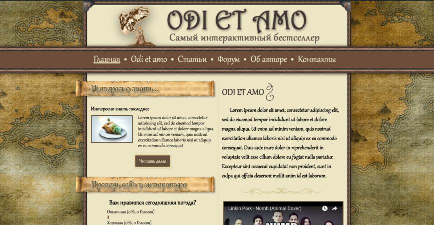 Дизайн сайта odi et amo